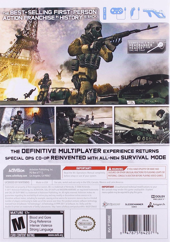 Amazon com: Call of Duty: Modern Warfare 3 - Nintendo Wii