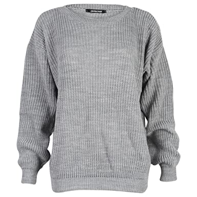 9L Womens Grey Ladies Oversized Knitted Baggy Chunky Jumper ...