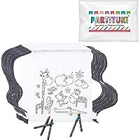 Partituki 20 Mochilas Infantiles para Colorear. Cada Una Incluye 5 Ceras de Colores. Ideal para Regalos de Fiestas de Cumpleaños