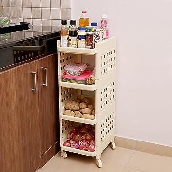 Kurtzy Vertical Rack 4 Layer Storage Organizer With Wheels For Kitchen Ivory Amazon In Home Kitchen