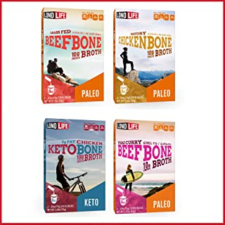 product image for LonoLife Beef Bone Broth, Chicken Bone Broth, Thai Curry Beef Bone Broth, Keto Chicken Bone Broth Sampler Pack-16 Stick Packs