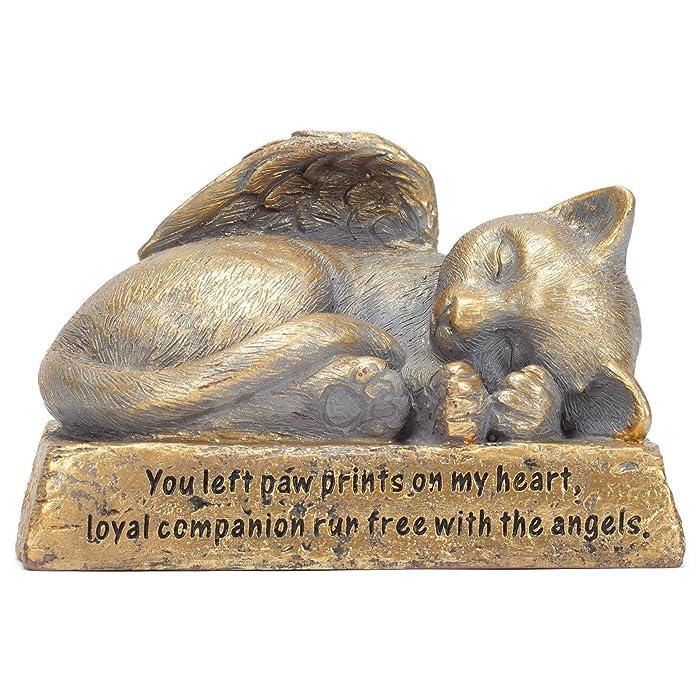 Brushed Gold-Tone Cat 5.5 x 4 Resin Pet Memorial Garden Statue