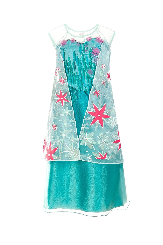 Vestido para niñas de Elsa de Frozen: Fiebre Congelada - Vestido de princesa para niñas por Fairy Tale Designs - Talla para edades de 7-8: Amazon.es: ...