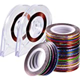 Blulu 90 Pieces Nail Striping Tape Line 30 Mixed Colors Rolls Striping Tape Line Nail Art Decoration Sticker with 2…