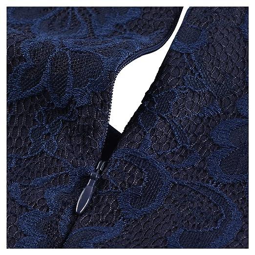 MIUSOL Vintage Donna Vestito Pizzo Elegante Anni 50 Abito Slim Vestiti Da  Sera Blu Medium  Amazon.it  Abbigliamento fe2aa075453