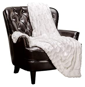 Chanasya Fuzzy Faux Fur Elegant Rectangular Embossed Throw Blanket - Plush Sherpa Microfiber Off White Blanket for Bed Couch (50x65 Inches) White