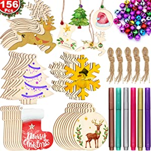 Unfinished Christmas Wooden Ornaments, ZALALOVA 156Pcs MSDS Approved Christmas Tree Ornaments 5 Styles Crafts Kit 33.6 Ft Jute Twine 50 Colorful Bells 6 Color Pens