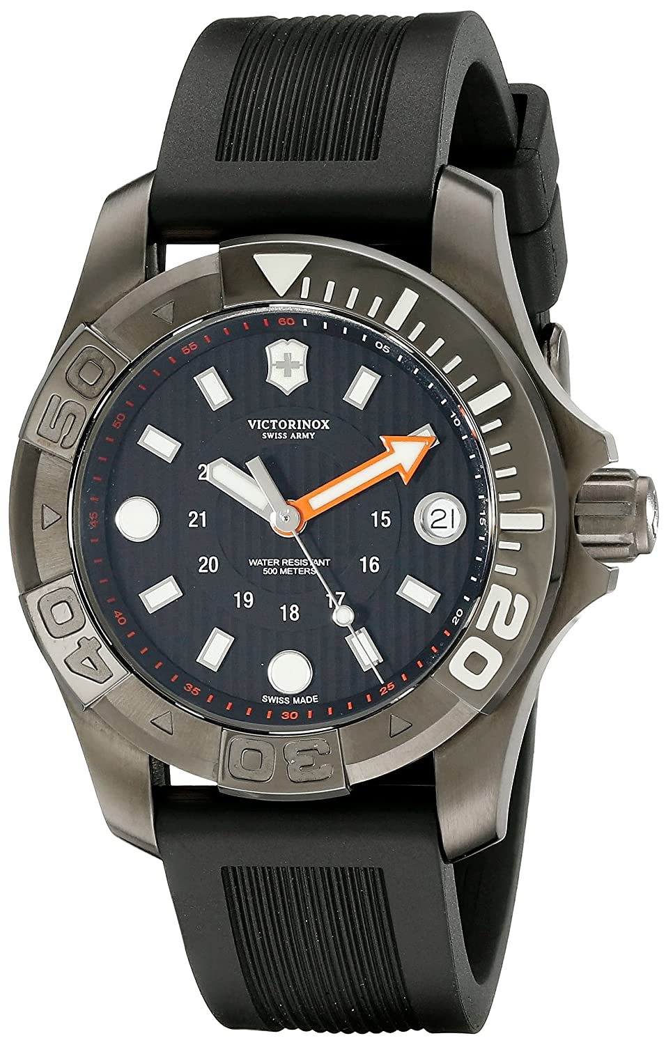 a19677a87b4d Amazon.com  Victorinox Swiss Army Dive Black Dial SS Rubber Quartz Men s  Watch 241555  Swiss Army  Watches