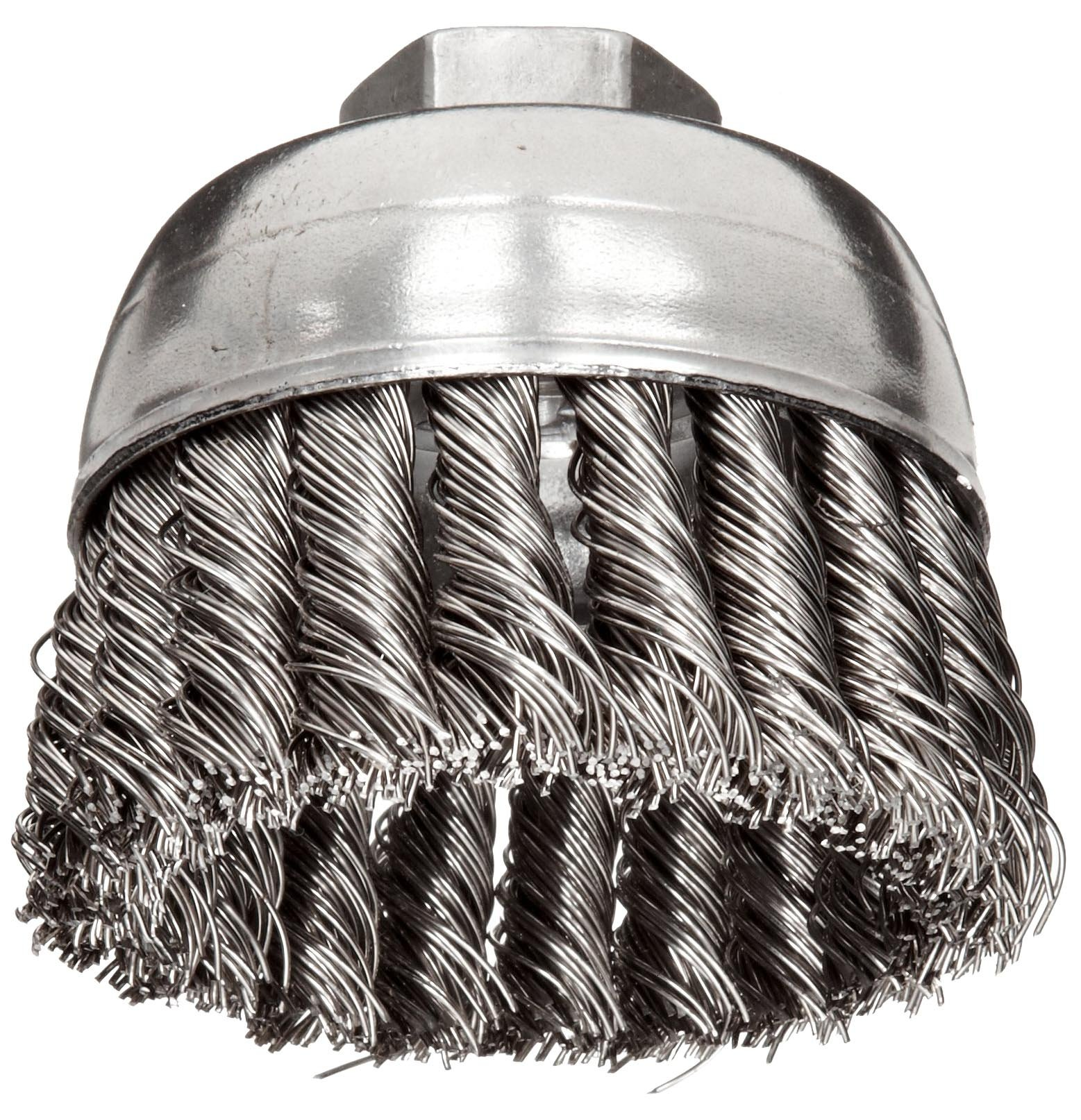 Weiler Wire Cup Brush, Threaded Hole, Stainless Steel 302, Partial Twist Knotted, 2-3/4'' Diameter, 0.02'' Wire Diameter, 5/8''-11 Arbor, 1'' Bristle Length, 14000 rpm (Pack of 1)
