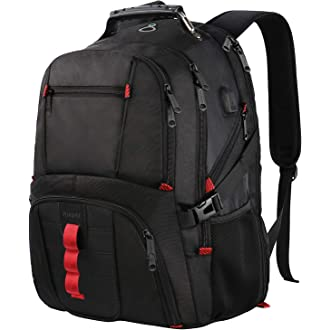 #15 Extra Large Backpack,TSA Friendly Durable Travel Computer Backpack with USB Charging Port/Headphones