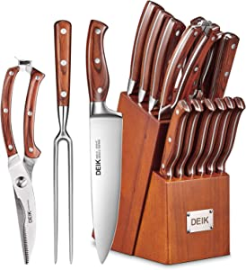 Deik Knife Set, High Carbon Stainless Steel Kitchen Knife Set 16PCS, Super Sharp Cutlery Knife with Carving Fork and Serrated Steak Knives