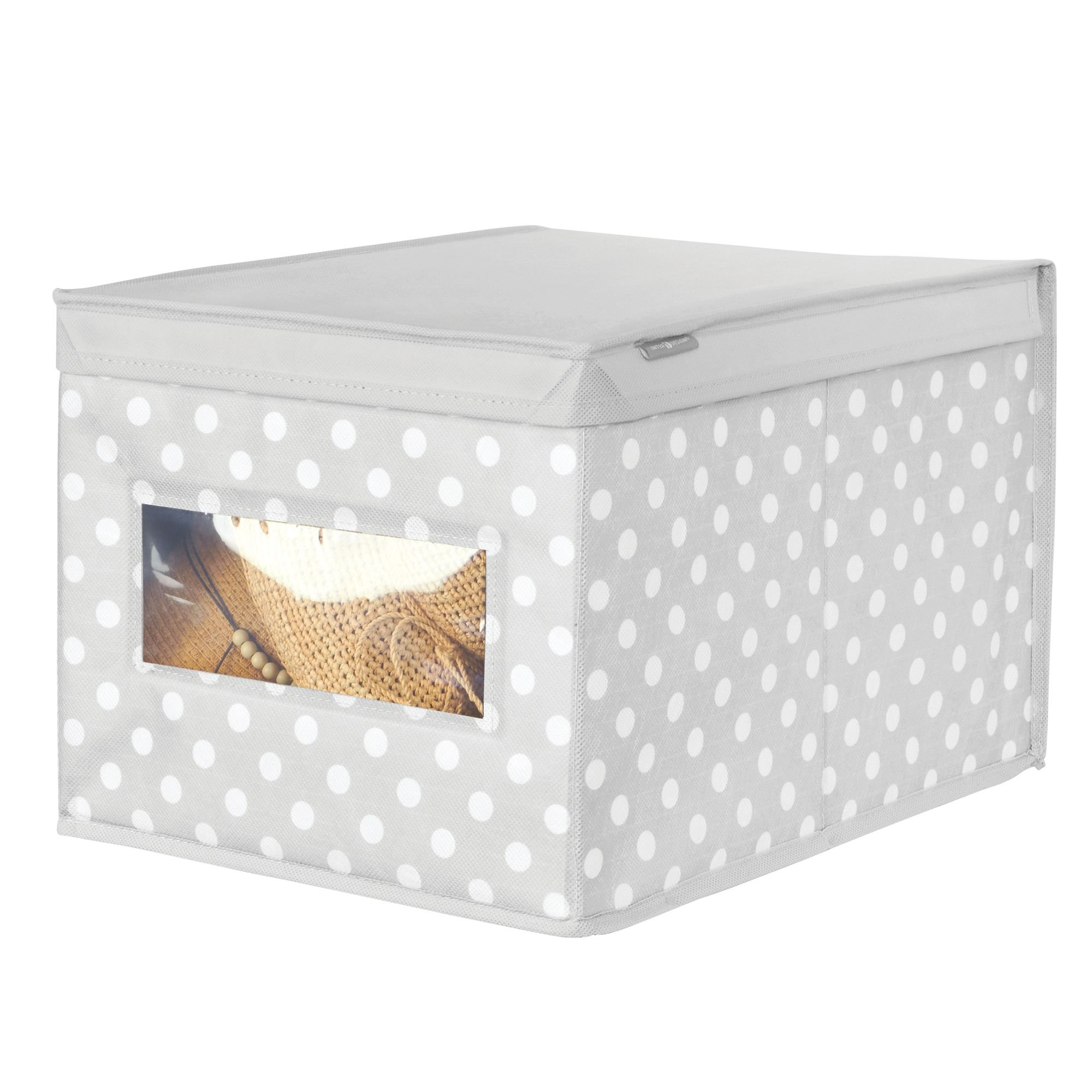 mDesign Soft Stackable Fabric Closet Storage Organizer Holder Box - Clear Window, Attached Hinged Lid, for Child/Kids Room, Nursery - Polka Dot Pattern - Large, Pack of 2, Light Gray with White Dots by mDesign (Image #5)