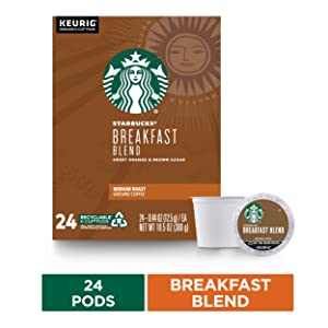 Starbucks Breakfast Blend Coffee K-Cup Pods | Medium Roast | Coffee Pods for Keurig Brewers | 1 Box (24 Pods)