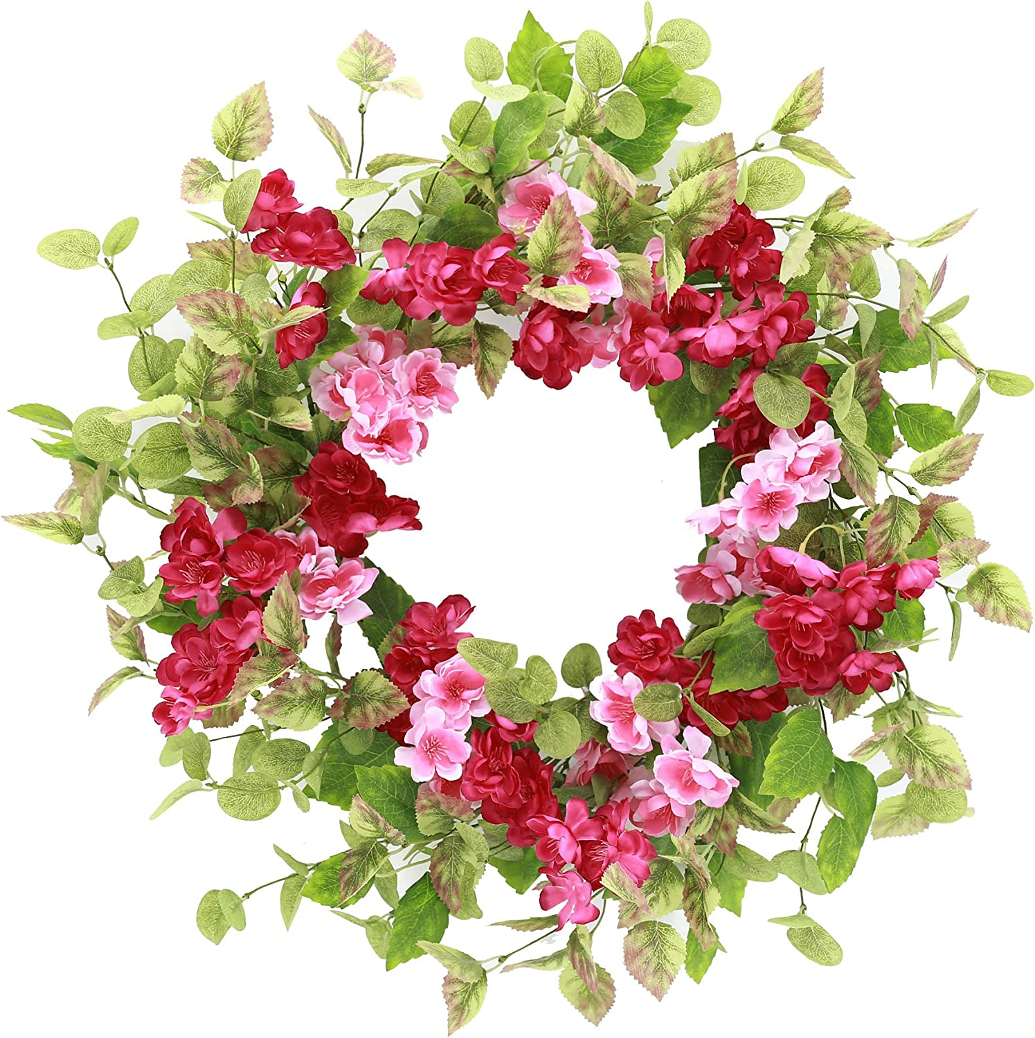 YNYLCHMX Spring Wreath for Front Door Eucalyptus Cherry Blossom Floral Wreath for Wedding Party Wall Window Home Decor, Pink Red, 18