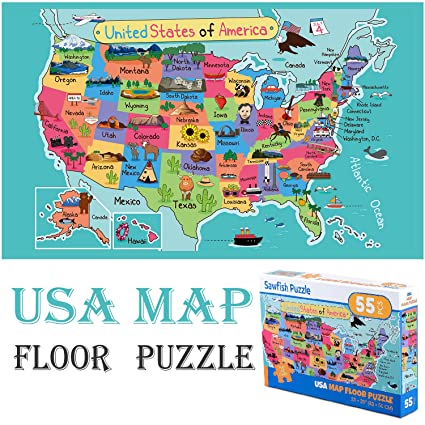 Amazon Com Floor Puzzle United States Map For Toddlers Kids