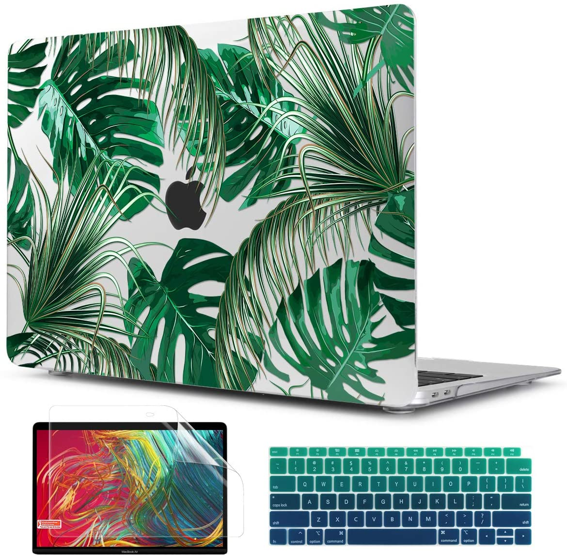 TwoL Tropical Palm Leaves Hard Shell Case Keyboard Cover Screen Protector for 2018 2019 2020 MacBook Air 13 inch Retina Model A1932 A2179