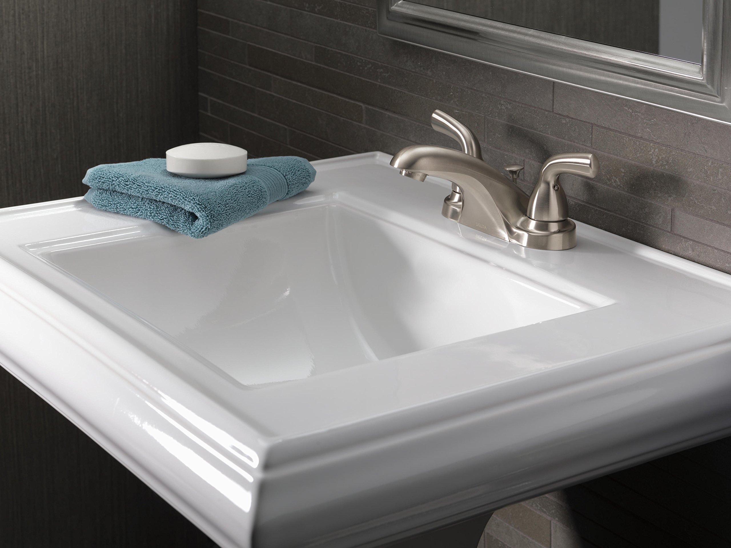 Delta Foundations B2510LF-SS Two Handle Centerset Lavatory Faucet, Stainless