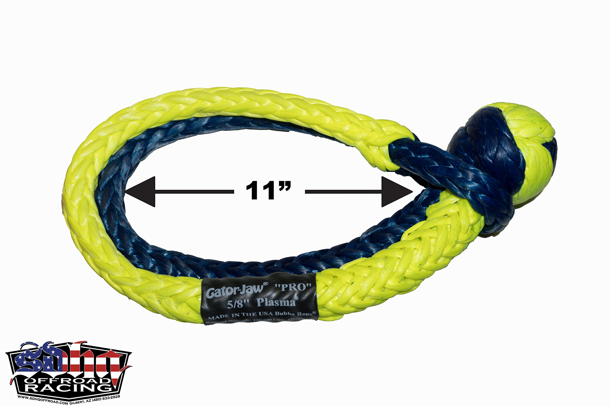 Bubba Rope GatorJaw Soft Shackle (125,000lb Breaking Strength Mega Yellow & Blue)