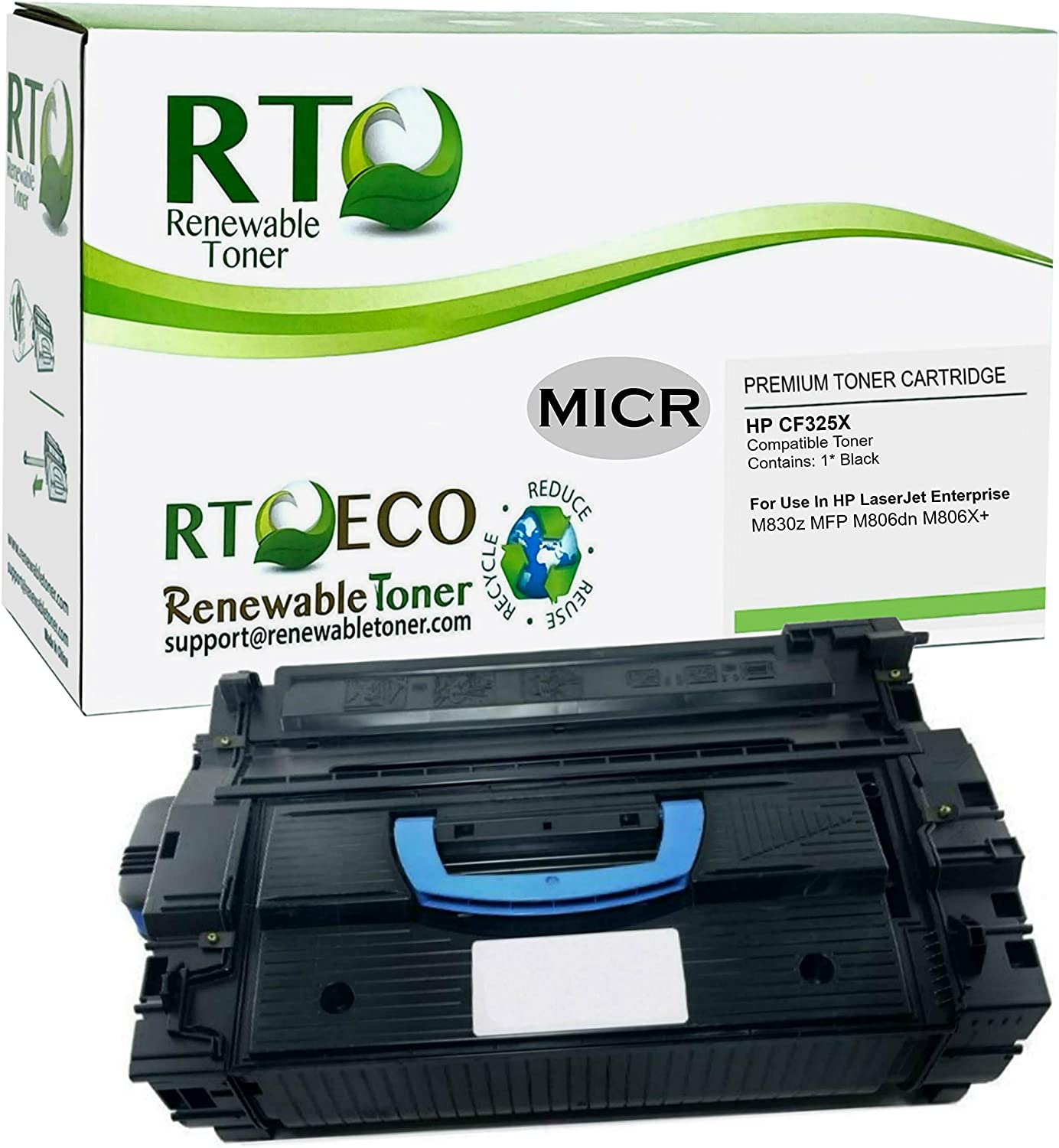 Renewable Toner MICR Toner Cartridge High Yield Replacement for HP 25X CF325X Laserjet M830 M806 Remanufactured in USA