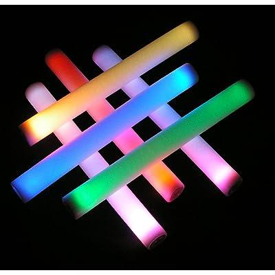 12 Pack - Genuine Whoa Stuff Deluxe Flashing LED Foam Light Stick Baton - 6 Mode Multicolor Supreme Color Changing