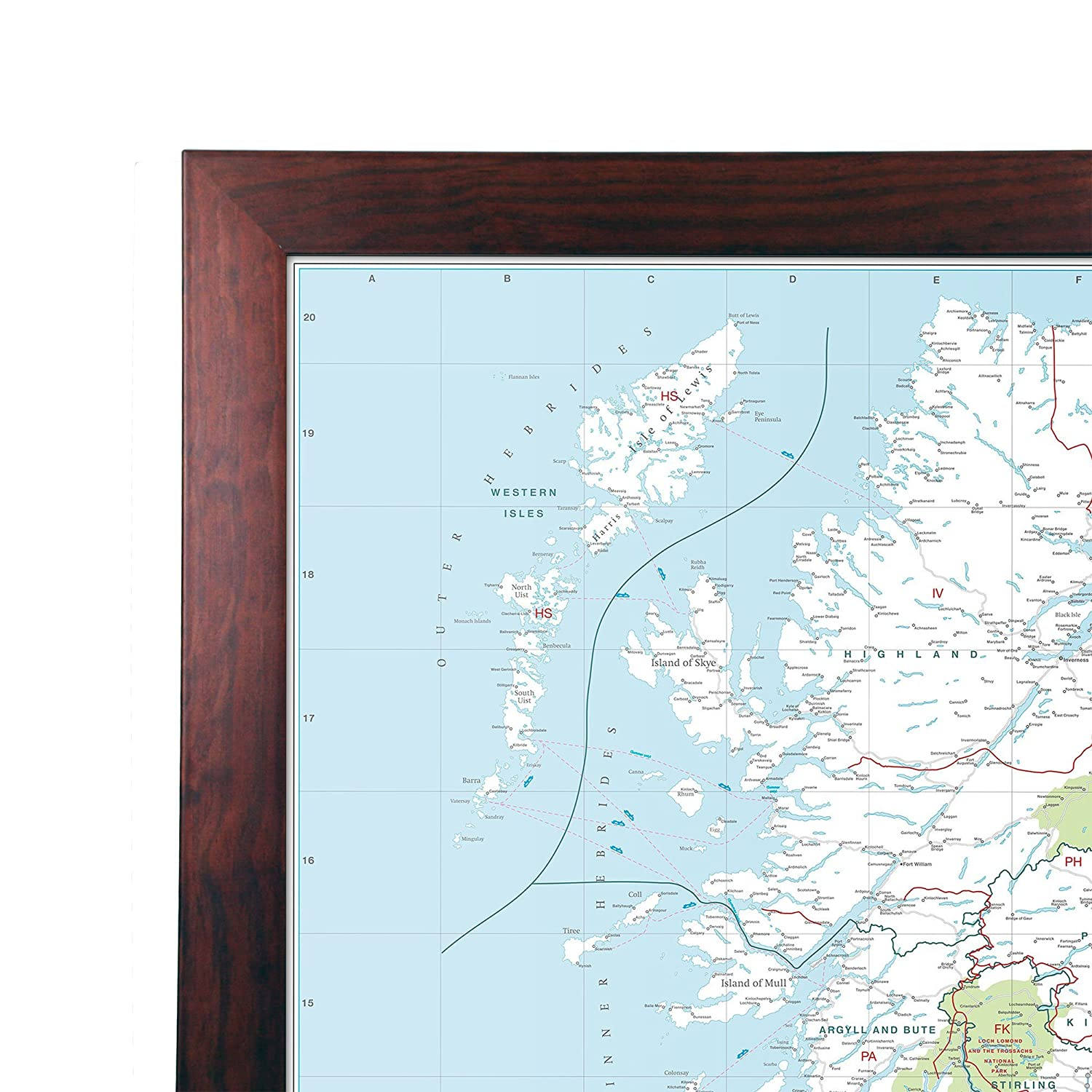 Large Wall Map For Business UK Postcode Area Map Laminated With Dark Wood Frame