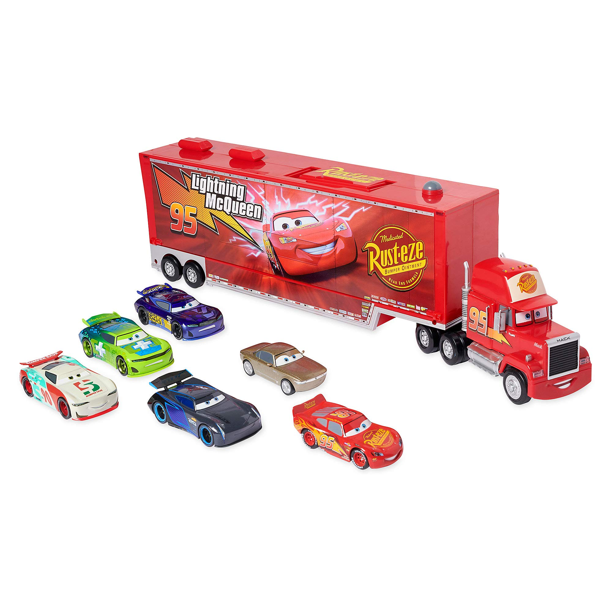 Disney Mack Friction Motor Hauler and Six Die Cast Cars Set