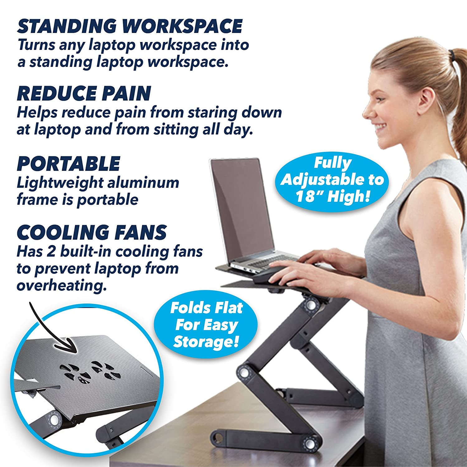 Official As Seen On Tv Air Space Laptop Desk By Bulbhead Adjustable