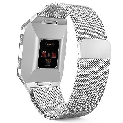 MoKo Fitbit Ionic Correa de reloj , Brazalete de pulsera de malla de acero inoxidable Milanese Loop ...