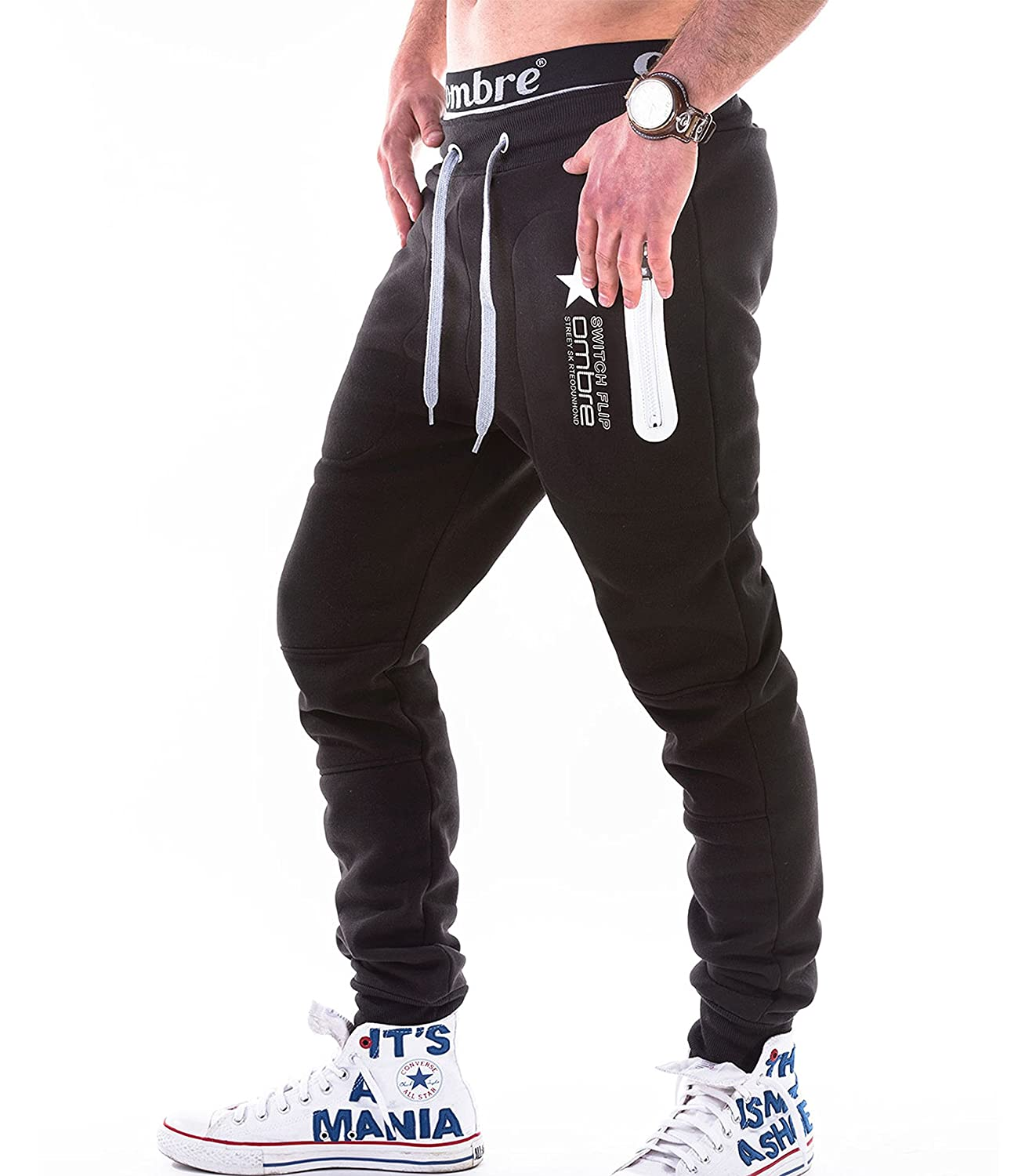 2d43a0cd BetterStylz Switch Mens Casual Joggers Track Pants Jogging Sweatpants Zip  Gym Tracksuit Bottoms 3 Colors (S-XXL) at Amazon Men's Clothing store: