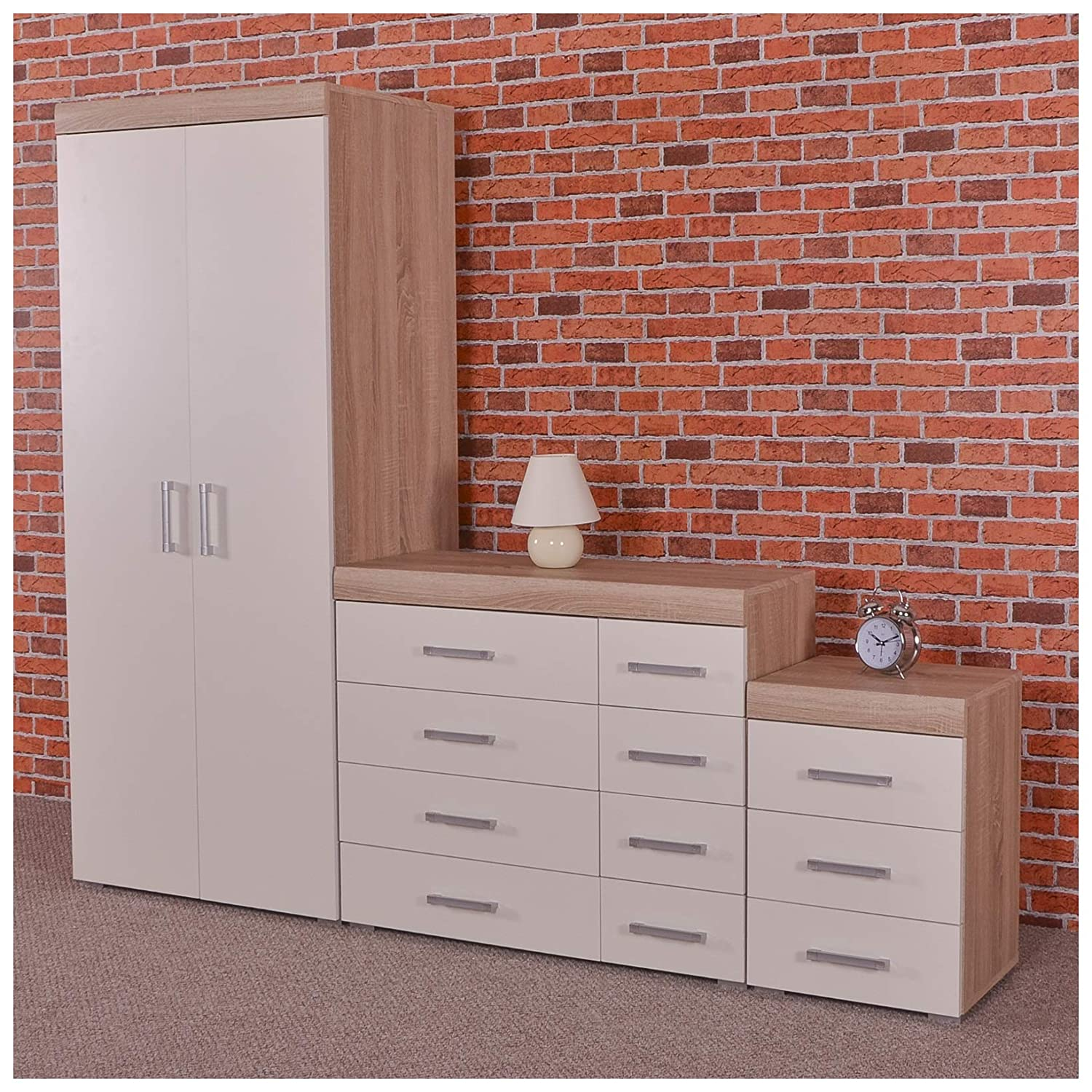 Drp Trading White Sonoma Oak Bedroom Furniture Set Wardrobe 4 Drawer Chest 3 Draw Bedside Table Co Uk Kitchen Home