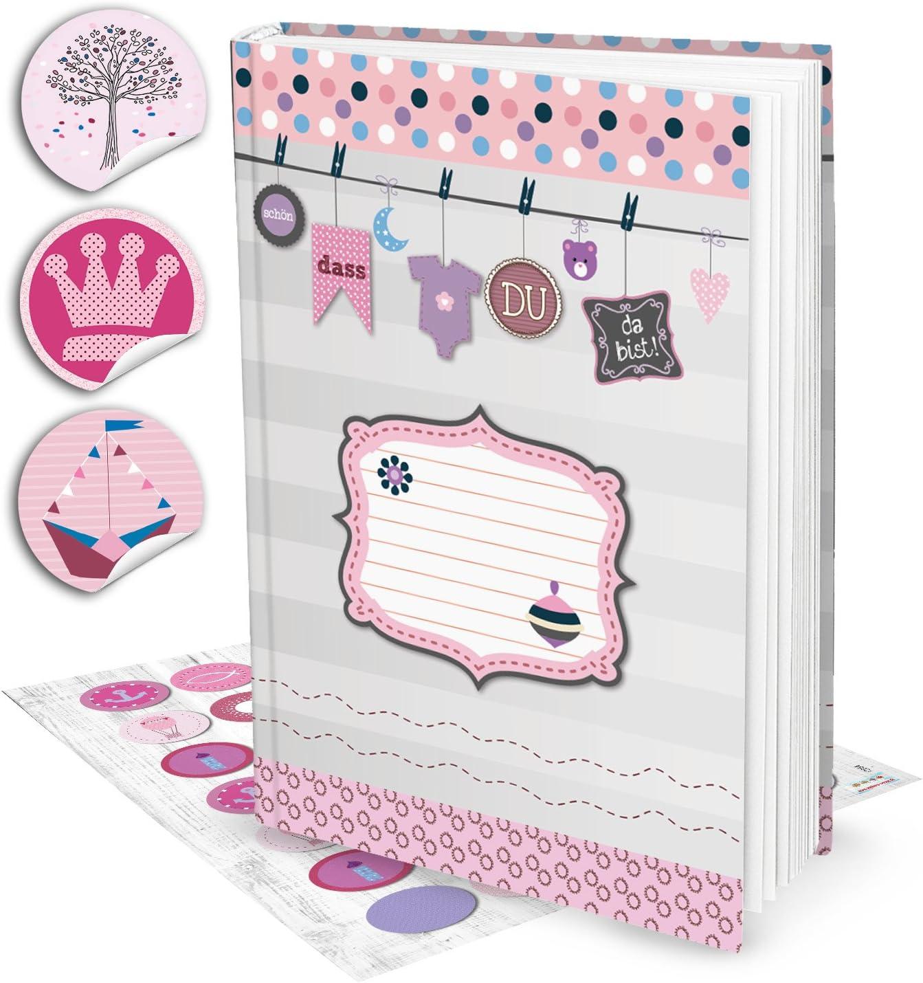 XXL Baby de diario para niños Diario Álbum de libros para bebé niña DIN A4Schön, dass du da bist + 35pegatinas en color rosa, 136páginas + Contenido directorio; regalo werdende Padres