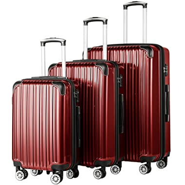 Coolife Luggage Expandable 3 Piece Sets PC+ABS Spinner Suitcase 20 inch 24 inch 28 inch (wine red)