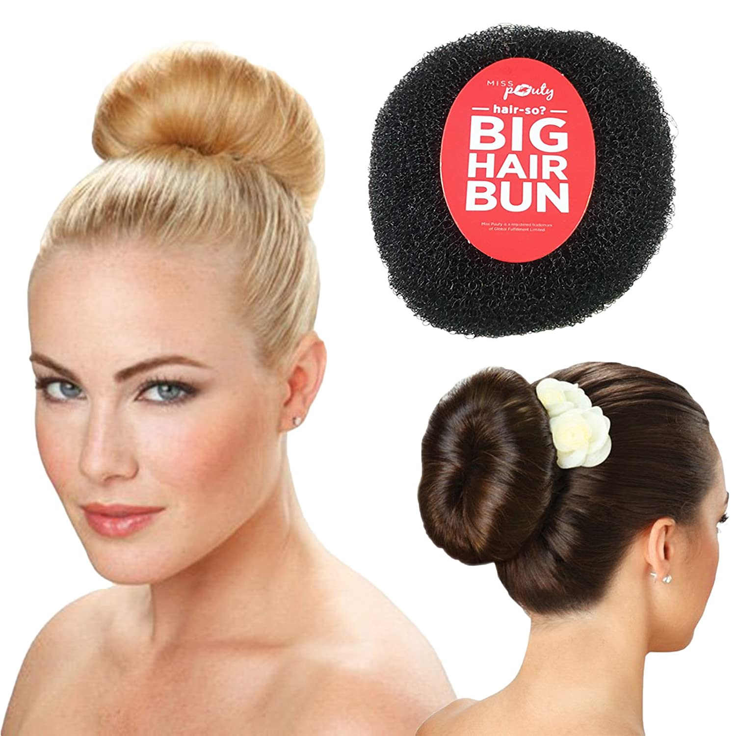 Hair-so? Massive 6 Inches Wide Big Hair Bun Extra Large Hair Doughnut Donut Bridal Wedding Hollywood Hair Style Bun Ring - Choose Colour- Brown, Black or Blonde (Black)