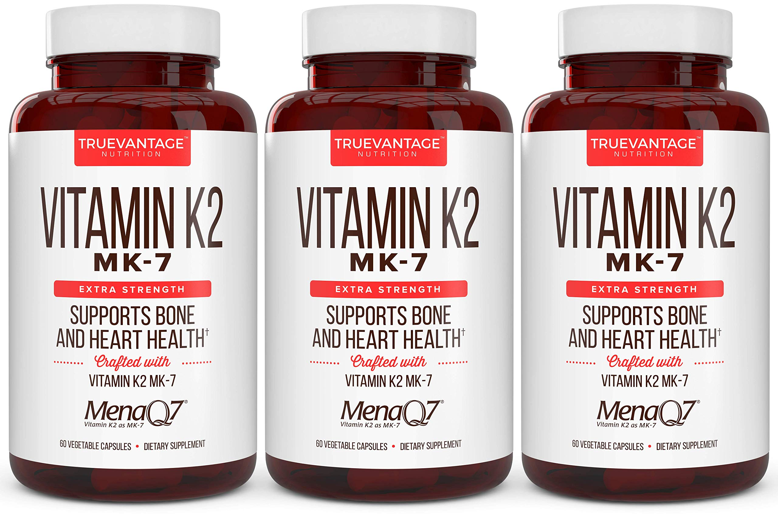 Extra Strength Vitamin K2 Supplement 180mcg - Vitamin k2 Supplement Supports Bone & Heart Health for Cardiovascular Calcium Absorption - 60 Easy to Swallow Vegan caps of Vitamin K2 MK7 (3 Pack)