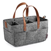 GAGAKU Baby Diaper Caddy Organizer - Baby Shower Basket Portable Nursery Storage Bin Car Storage Basket for Wipes Toys Tote Bag - Dark Grey
