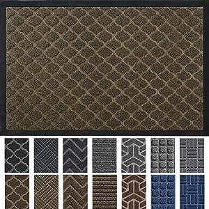"""DEXI Door Mat Front Indoor Outdoor Doormat,Small Heavy Duty Rubber Outside Floor Rug for Entryway Patio Waterproof Low-Profile,23""""x35"""",Brown"""
