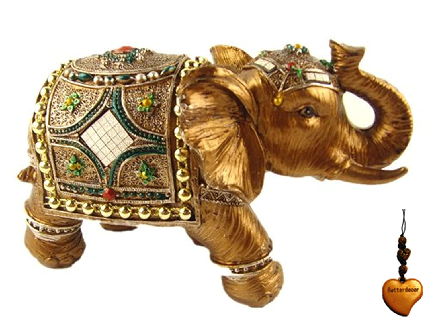 """Betterdecor Feng Shui Trunk up Lucky Elephant Statue for Good Fortune-4"""" Tall (with a Logo Gift Bag)"""