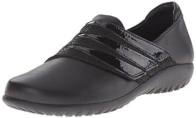 Naot Women's Rapoka Flat, Black Raven Leather/Black Crackle Leather/Black  Crinkle Patent