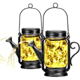 2 Pack Outdoor Christmas Hanging Solar Lanterns Mason Jar Solar Lights, Watering Can Lights with 45 Led String Lights for Pat