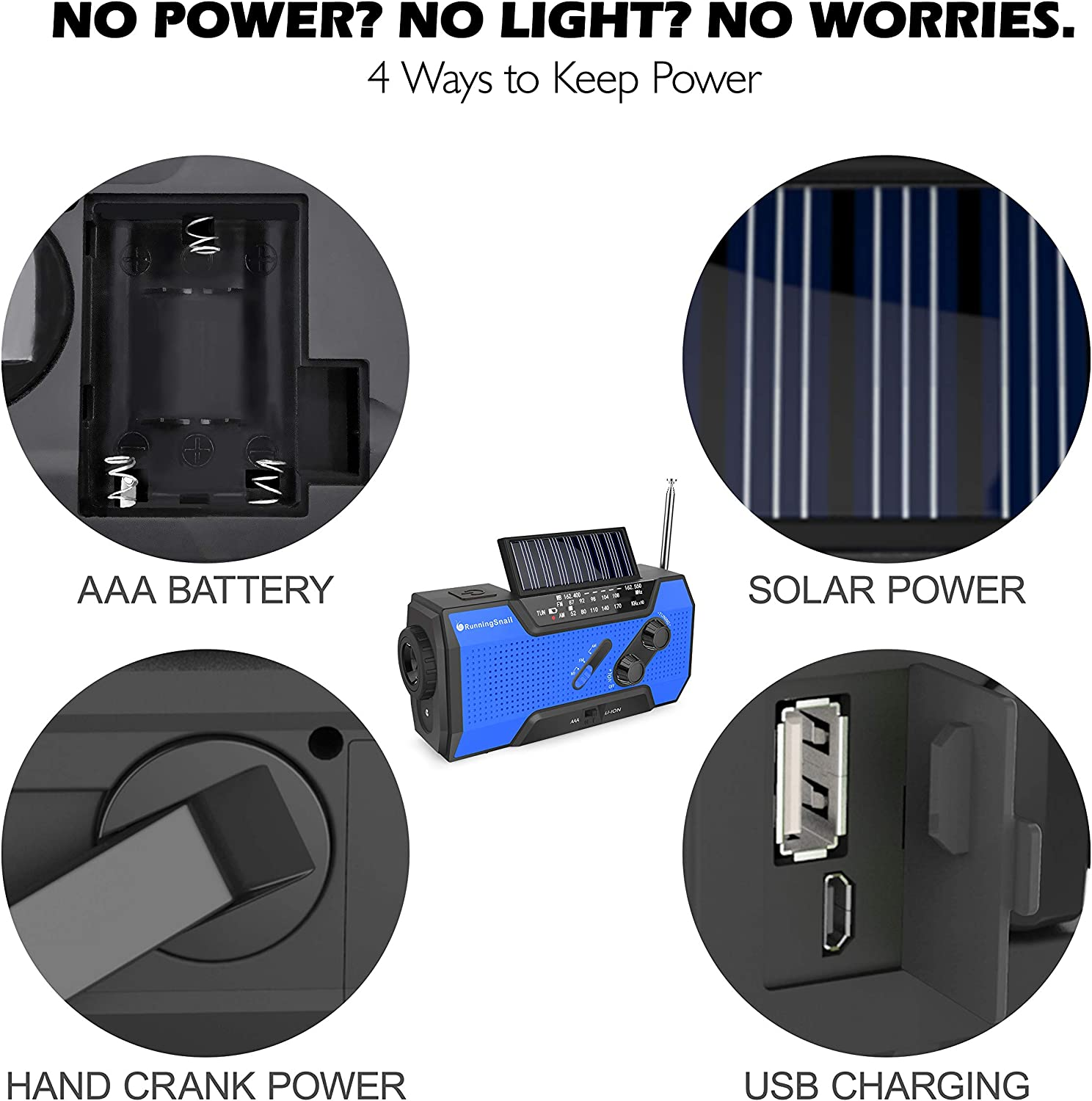 RunningSnail Solar Crank NOAA Weather Radio for Emergency with AM/FM, Flashlight, Reading Lamp and 2000mAh Power Bank (Blue): Home Audio & Theater