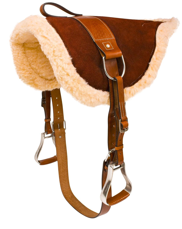 AceRugs Premium Brown Fleece Non Slip Western English TREELESS Horse Saddle Bareback PAD Leather Stirrups Girth