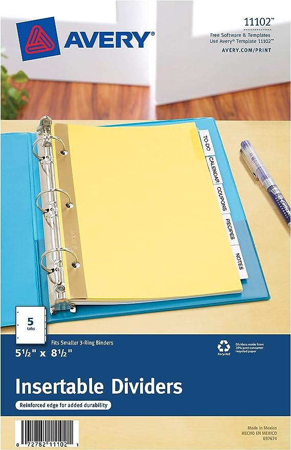 Avery Plastic Mini 5-Tab Binder Dividers 1 Set 11118 Style Edge Insertable Multicolor Tabs