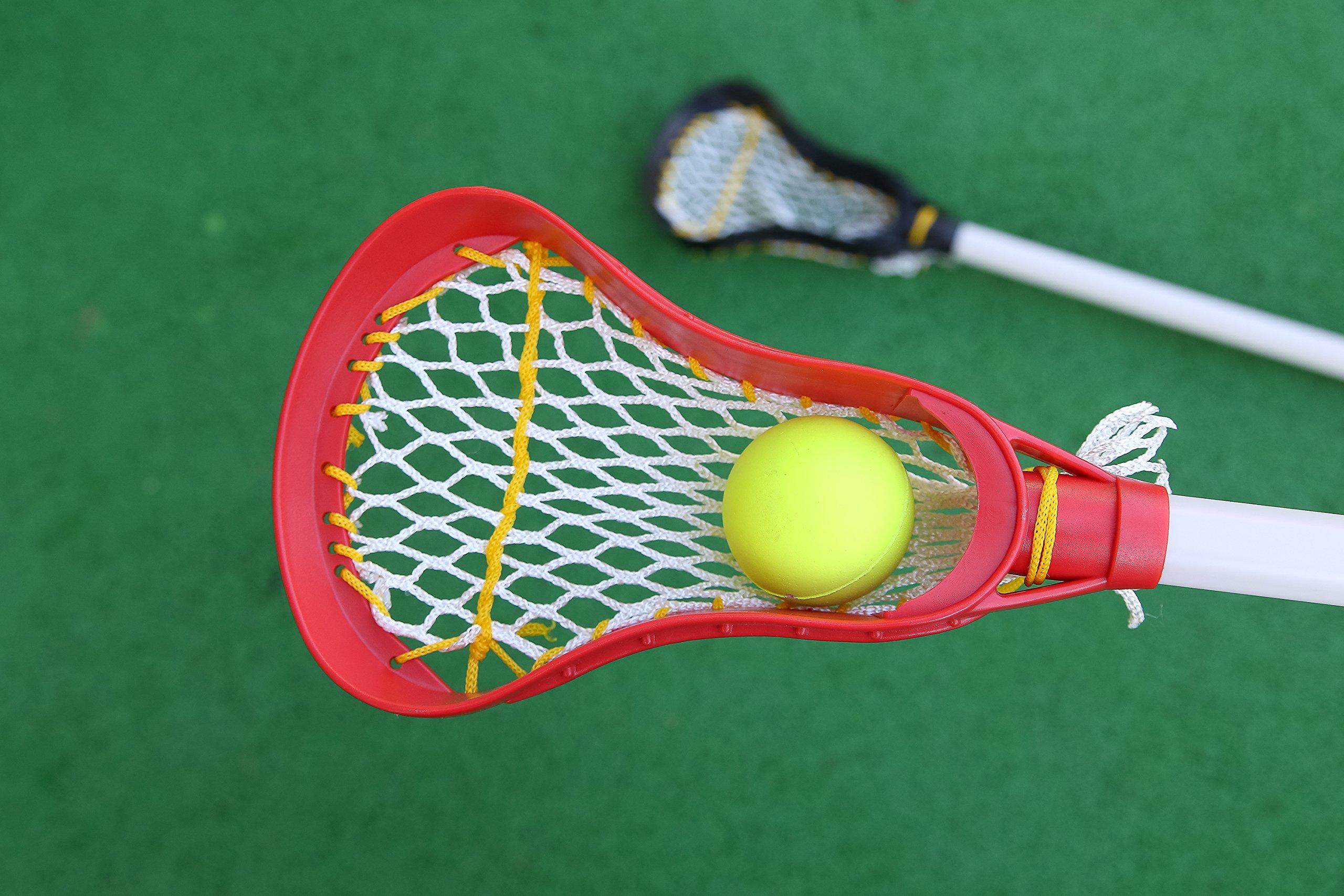Kids Lacrosse Sticks - 2 Sticks (30 Inches) & 1 Ball - Soft Mesh Pockets, Durable Plastic Handles, & Large Head Design by Junior Lacrosse (Image #2)