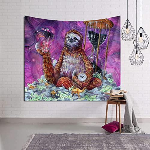 Time Sloth Sea Camel Tapestry Wall Hanging Tapestries Wall Blanket Bedding Wall Art Decoration for Living Room Bedroom Dorm Home 60×90 Inch