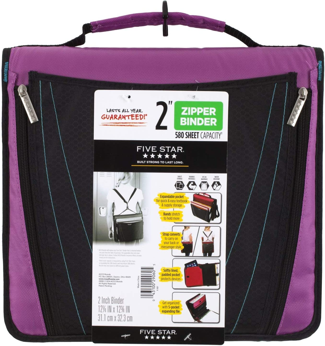 Five Star Zipper Binder, 2 Inch 3 Ring Binder, Expanding Pocket, Durable, Purple (73303)