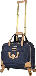 Nicole Miller New York Designer 17 Inch Carry On - Weekender Overnight Business Travel Luggage - Lightweight 4- Spinner Wheels Suitcase - Briefcase Rolling Bag for Women (Taylor Navy)