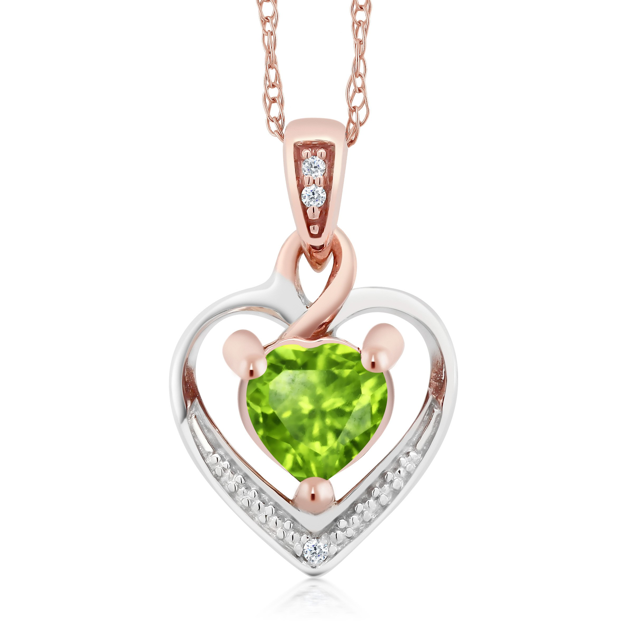10K White Gold Heart Shape Green Peridot and Diamond Pendant Earrings Set by Gem Stone King (Image #2)