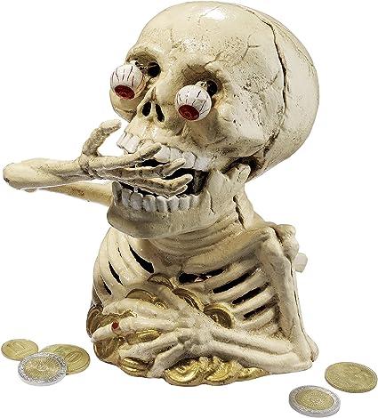 Design Toscano tirelire m/écanique en fonte le squelette affam/é