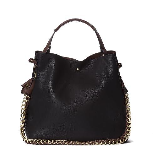 Handbag Republic Large Handbag Classic Top Handle Vegan Faux Leather Shoulder Bag For Women With Pou...