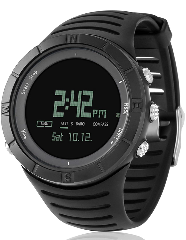 Spovan Sport HÖhenmesser Barometer Thermometer Stoppuhr Dualzeit Chronograph Multifunktion Uhren Wasserdicht
